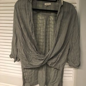 High-low wrap-front olive green top